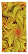 Swirly, Yellow Leaves Bath Towel