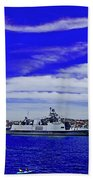 Sydney Harbour And Flying Flag Bath Towel