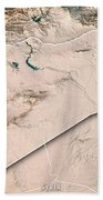 Syria Country 3d Render Topographic Map Neutral Border Bath Towel