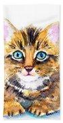 Tabby Kitten Watercolor Bath Towel