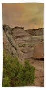 Tail End Of Storm At Sunset Over Bentonite Site Bath Towel