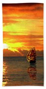 Tall Ships And The Trade Route Bath Towel