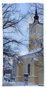 Tallin Church In Winter Bath Towel