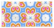 Tangerine And Sky Floral Pattern- Art By Linda Woods Bath Towel