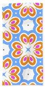 Tangerine And Sky Floral Pattern- Art By Linda Woods Bath Towel