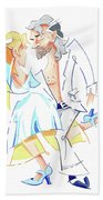Tango Nuevo - Gancho Step - Dancing Illustration Bath Towel