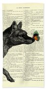Tasmanian Tiger And Orange Butterfly Antique Illustration On Dictionary Page Bath Towel