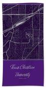 Tcu Street Map - Texas Christian University Fort Worth Map Bath Towel