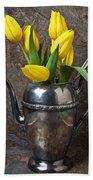 Tea Pot And Tulips Bath Towel