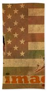 Ted Cruz For President Imagine Speech 2016 Usa Watercolor Portrait On Distressed American Flag Bath Towel