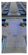 Telephone Building With Indigo Reflections Hand Towel