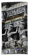 Temple Detail In Bangkok Thialand Bath Towel
