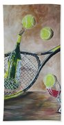 Tennis And Wine Bath Towel