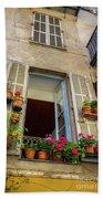 Terra Cotta Pots Outside Window In Old Town Nice, France Bath Towel