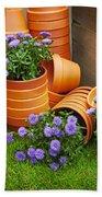 Terracotta Flower Pots Bath Towel