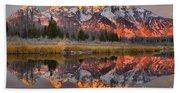 Teton Mountains Sunrise Rainbow Bath Towel