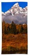 Teton Peaks Above Fall Foliage Bath Towel