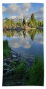 Teton Reflection In Schwabacher Landing Hand Towel