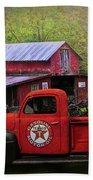 Texaco Truck On A Smoky Mountain Farm In Colorful Textures  Bath Towel