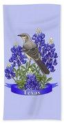 Texas State Mockingbird And Bluebonnet Flower Bath Sheet by Crista Forest