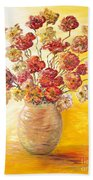 Textured Flowers In A Vase Bath Towel