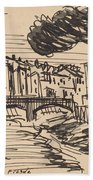 The Arno In The Evening, Florence Bath Towel