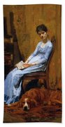 The Artist Wife And His Setter Dog 1889 Bath Towel