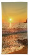 the beach and the Mediterranean sea in Montenegro in the summer at sunset Hand Towel