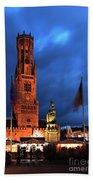 The Belfort Tower, Belfry, Bruges City, West Flanders Bath Towel