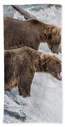 The Catch - Brown Bear Vs. Salmon Bath Towel