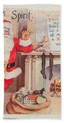The Christmas Spirit Vintage Card Santa Next To Fireplace Bath Towel