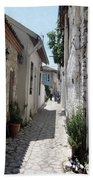 The Cobbled Back Streets Surrounding Old Marmaris Bath Towel