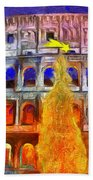 The Colosseum And Christmas  - Van Gogh Style -  - Da Bath Towel