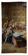 The Feast Of Dido And Aeneas. An Allegorical Portrait Of The Family Of The Duc And Duchesse Du Maine Bath Towel