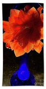 The Flower Of Cactus In A Blue Vase. Bath Towel