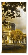 The Four Courts In Reconstruction Sepia Bath Towel