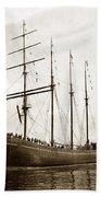 The Four-masted Barkentine  Jane Stanford Built By Hans Bendixse 1892 Bath Towel