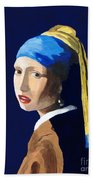 The Girl With A Pearl Earring After Vermeer Bath Towel