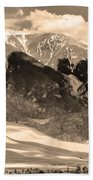 The Great Colorado Sand Dunes In Sepia Bath Towel