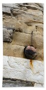 The Hanging Jar - Rough Weathered Stones Rust And Ceramics - A Vertical View Bath Towel