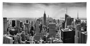 New York City Skyline Bw Bath Towel