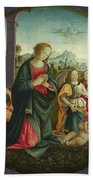 The Holy Family With Angels Bath Towel
