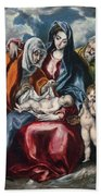 The Holy Family With Saint Anne And The Infant John The Baptist Bath Towel