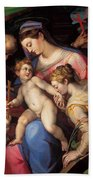 The Holy Family With St Catherine Of Alexandria, St Margaret Of Antioch And St Francis Of Assisi  Hand Towel