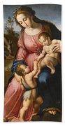 The Holy Family With The Infant Saint John The Baptist Bath Towel