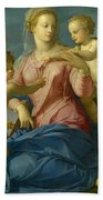 The Holy Family With The Infant Saint John The Baptist, Madonna Stroganoff  Bath Towel