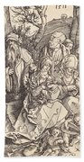 The Holy Family With Two Music-making Angels Bath Towel