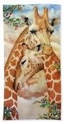 The Hug - Giraffes Bath Towel