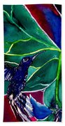 The Hummingbird And The Trillium Bath Towel