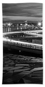 The Icy Charles River At Night Boston Ma Cambridge Black And White Bath Towel